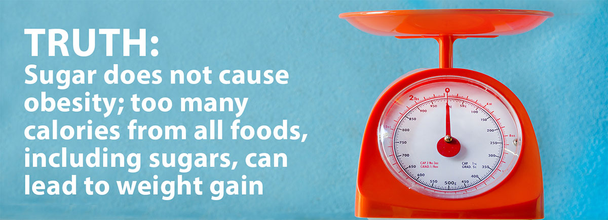 Sugar does not cause obesity; too many calories from all foods including sugars, can lead to weight gain